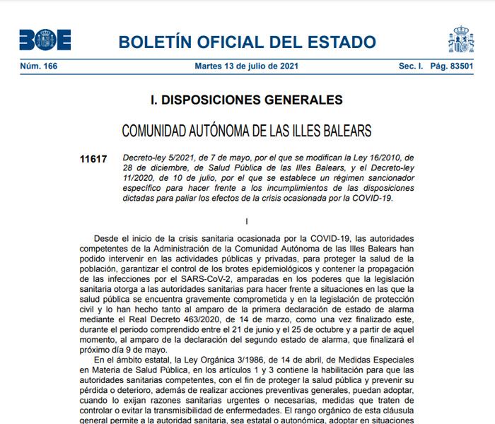 00 –  Illes Balears, modificación Ley de Salud Pública