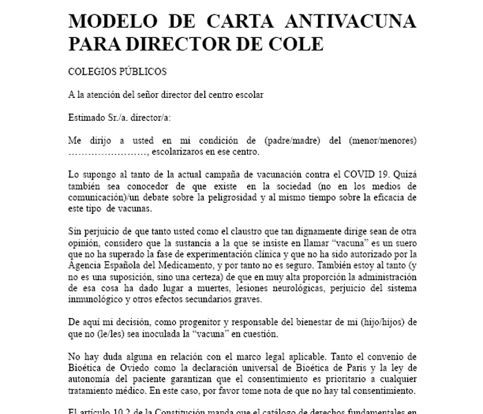 Modelo de carta antivacuna para director de cole