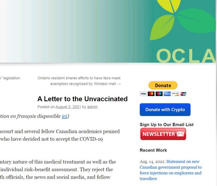 Carta abierta de científicos canadienses a los no vacunados